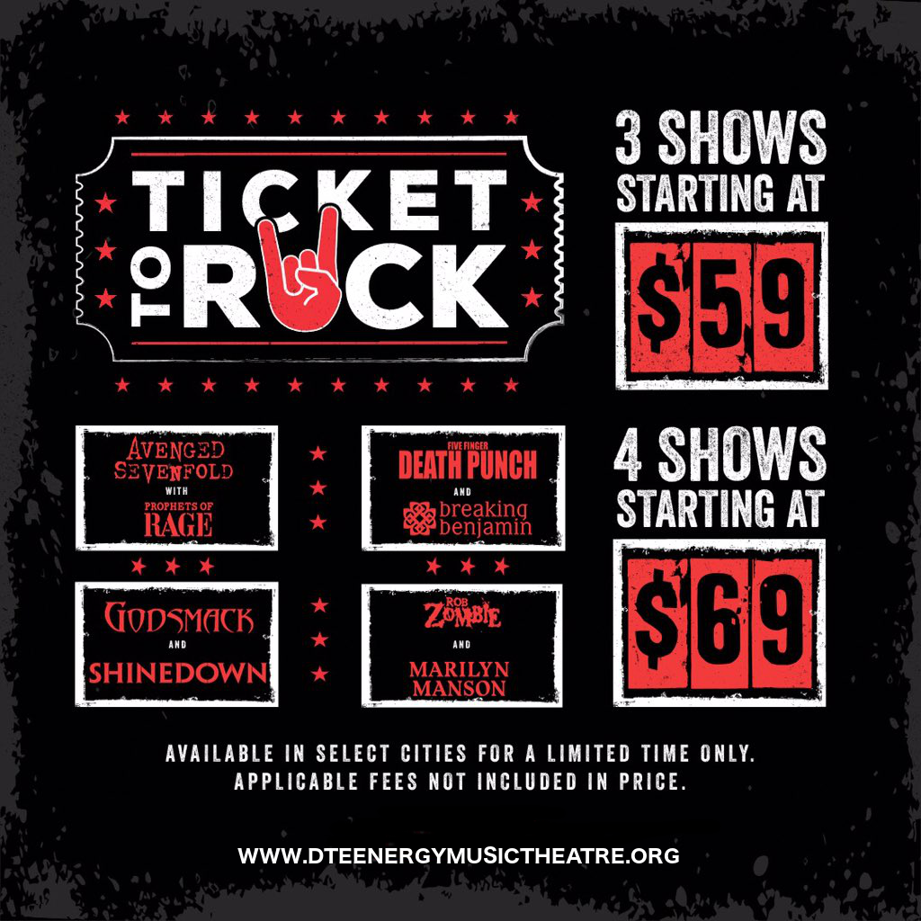 Ticket To Rock (Includes Shinedown, Avenged Sevenfold, Rob Zombie & Five Finger Death Punch Performances) at DTE Energy Music Theatre
